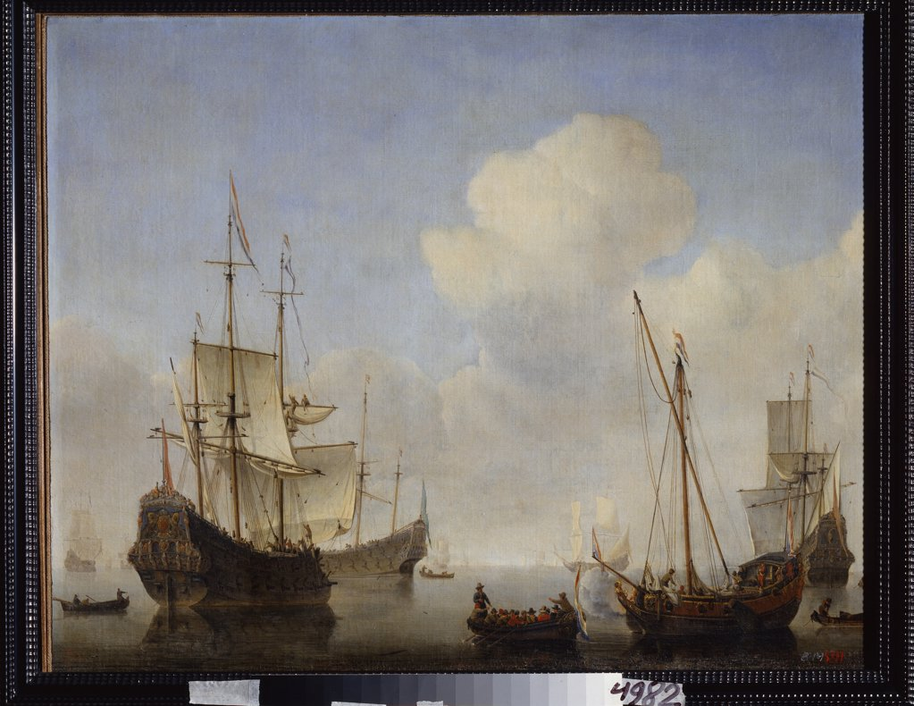 Sea war by Willem van de Velde the Younger , oil on canvas , 1660s, 1633-1707, Russia, St. Petersburg , State Open-air Museum Peterhof : Stock Photo