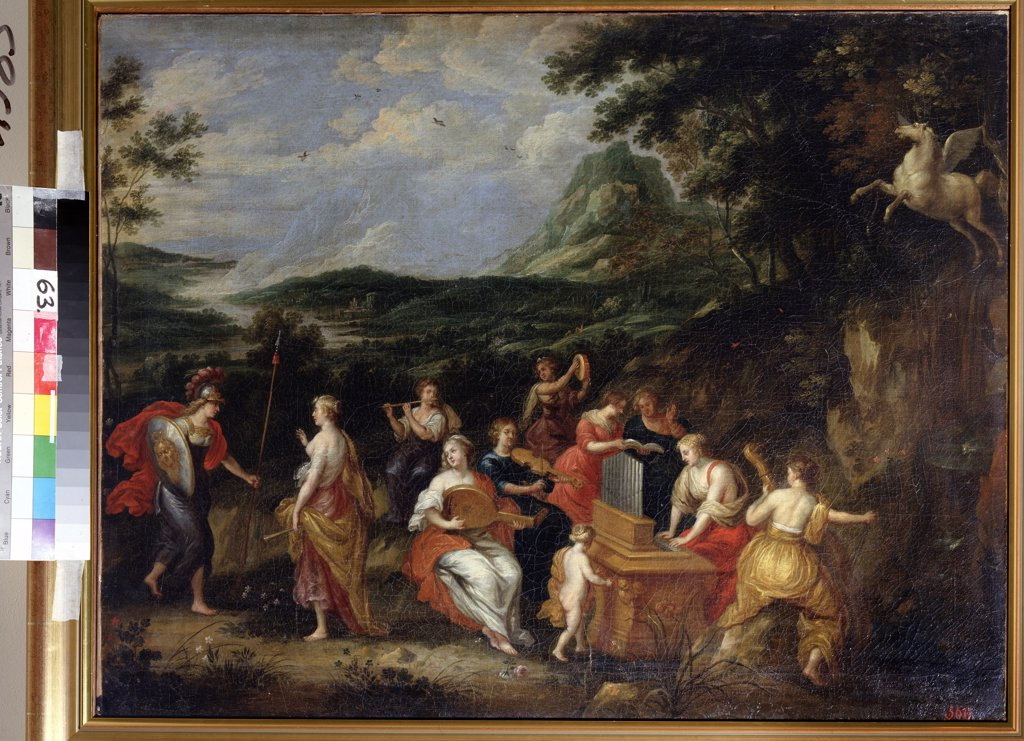 Atena with people playing on musical instrument by Jan van Balen, oil on canvas , 1630s, 1611-1654, Russia , St. Petersburg, State Open-air Museum Peterhof : Stock Photo