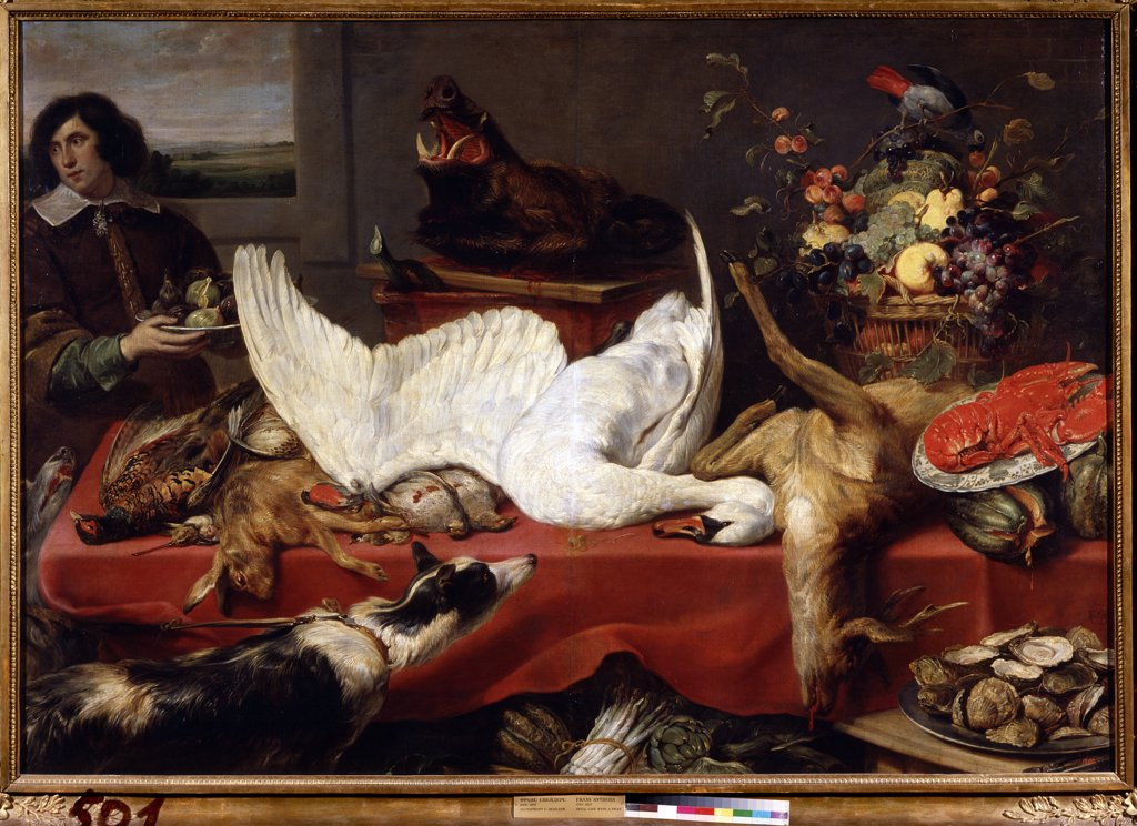 Stock Photo: 4266-12162 Dead animals on table by Frans Snyders, oil on canvas, 1640s, 1579-1657, Russia, Moscow , State A. Pushkin Museum of Fine Arts, 162, 5x235
