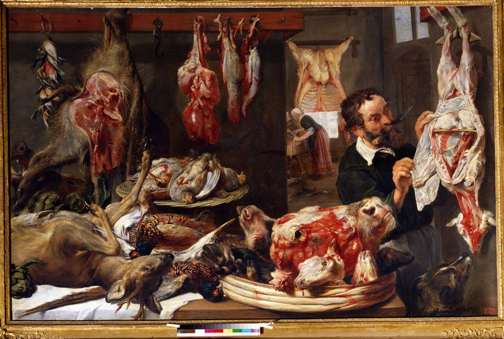 Stock Photo: 4266-12164 Butcher's Shop by Frans Snyders, oil on canvas , 1630s, 1579-1657, Russia, Moscow , State A. Pushkin Museum of Fine Arts, 135x210