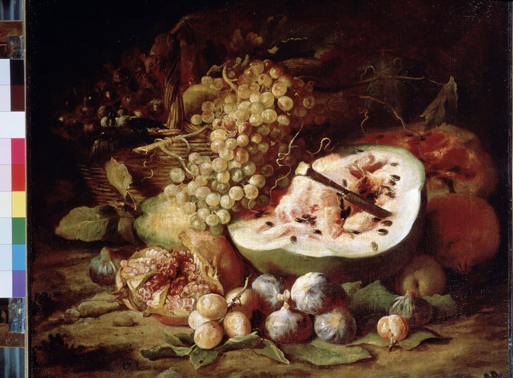 Stock Photo: 4266-12167 Still life with fruits by Abraham Brueghel, oil on canvas , 1670s, 1631-1697, Russia, St. Petersburg, State Hermitage, 59, 5x73