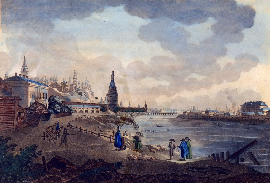 View of Kremlin by Giacomo Antonio Domenico Quarenghi, watercolor and ink on paper , 1790s, 1744-1817, Russia, St. Petersburg , A. Pushkin Memorial Museum : Stock Photo