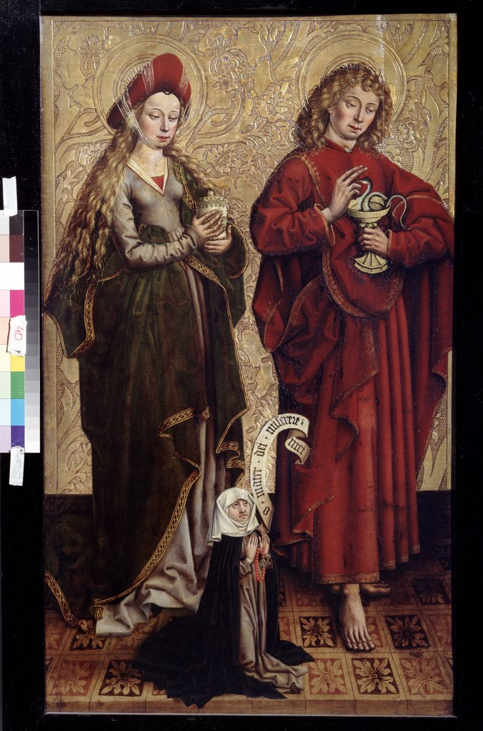 Apostle James and Mary Magdalene by Martin Schongauer, Oil on wood, Late 15th cen., circa 1445/50-1491, Russia, Moscow, State A. Pushkin Museum of Fine Arts, 103x61, 5 : Stock Photo