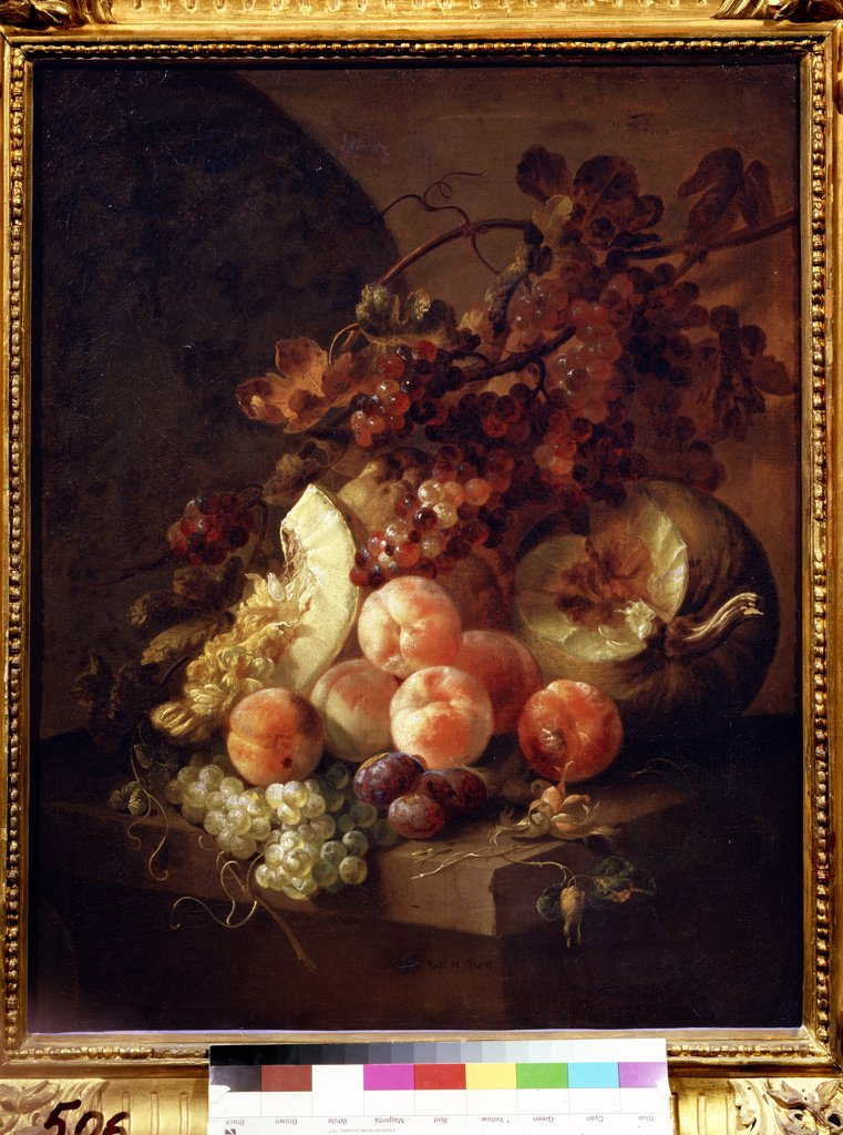 Still life with peaches by Jan Frans van Son, Oil on canvas, 1658-1718, Russia, Moscow, State A. Pushkin Museum of Fine Arts, 77x64 : Stock Photo