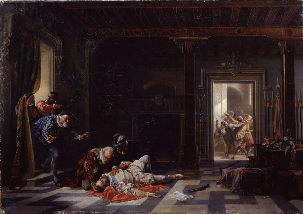 Stock Photo: 4266-12191 Assassination by Stanislav Khlebovsky, Oil on canvas, 1861, 1835-1884, Russia, Arkhangelsk, Regional Art Museum, 64x92