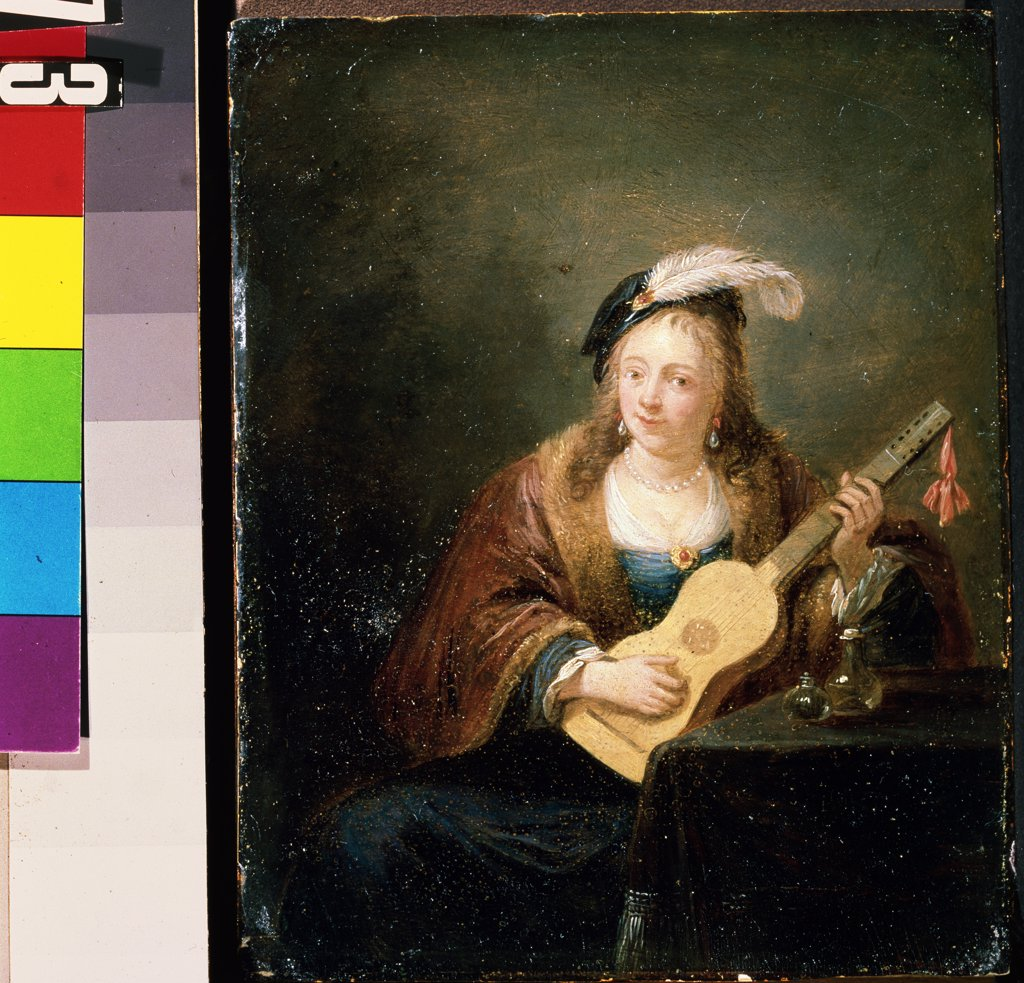 Stock Photo: 4266-12253 Woman with guitar by David Teniers the Younger , oil on wood, 1610-1690, Russia, Sevastopol , M. Kroshitsky Art Museum,
