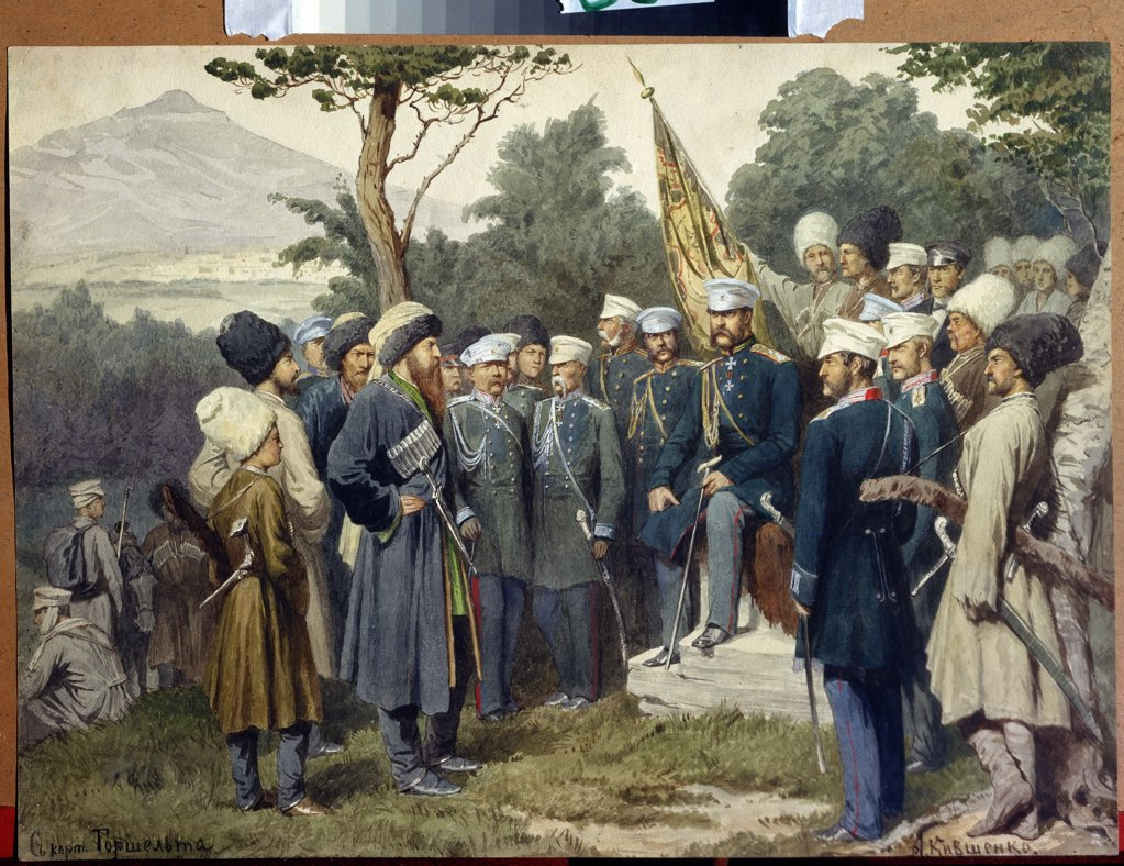 Capture of Shamil by Alexei Danilovich Kivshenko, watercolour on paper , 1880, 1851-1895, Russia, St. Petersburg , State Central Navy Museum, 33x44 : Stock Photo
