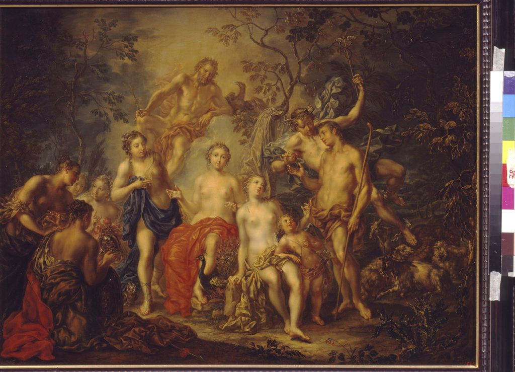 Stock Photo: 4266-1227 Apple of Discord, Johann Georg Platzer, oil on copper, 1704-1761, Russia, Moscow, State A. Pushkin Museum of Fine Arts, 64x85