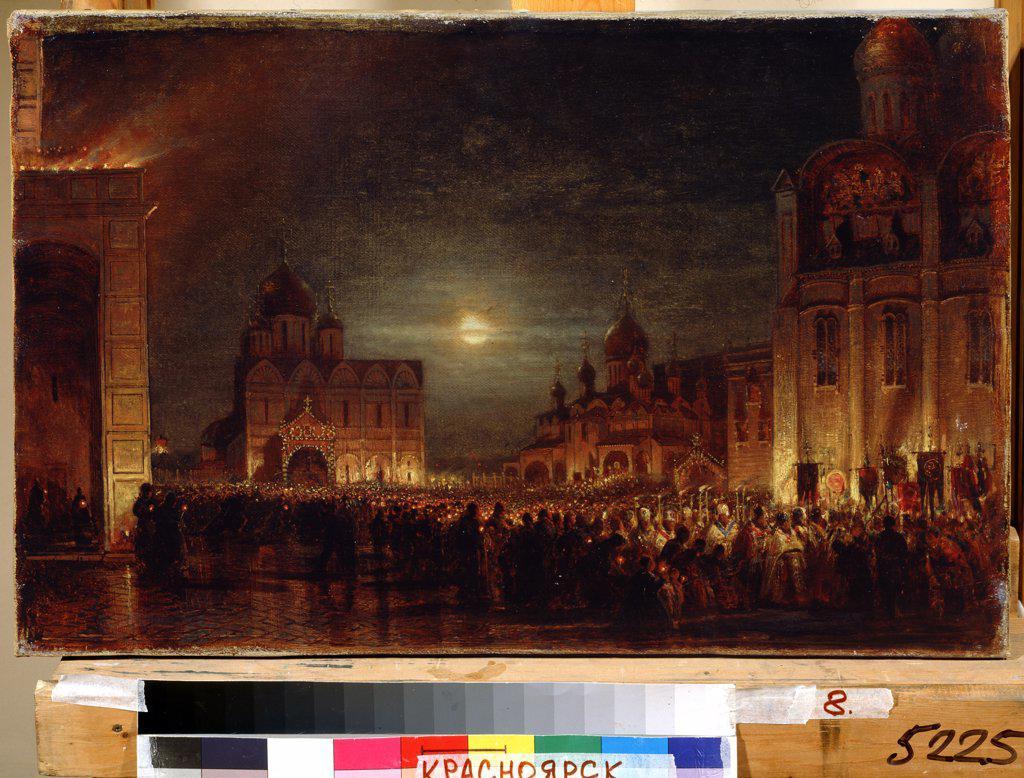 Stock Photo: 4266-12300 Easter ceremony by Alexei Petrovich Bogolyubov, oil on canvas, 19th century, 20th century, 1824-1896, Russia, Krasnoyarsk , State V. Surikov Art Museum, 38, 5x60, 5