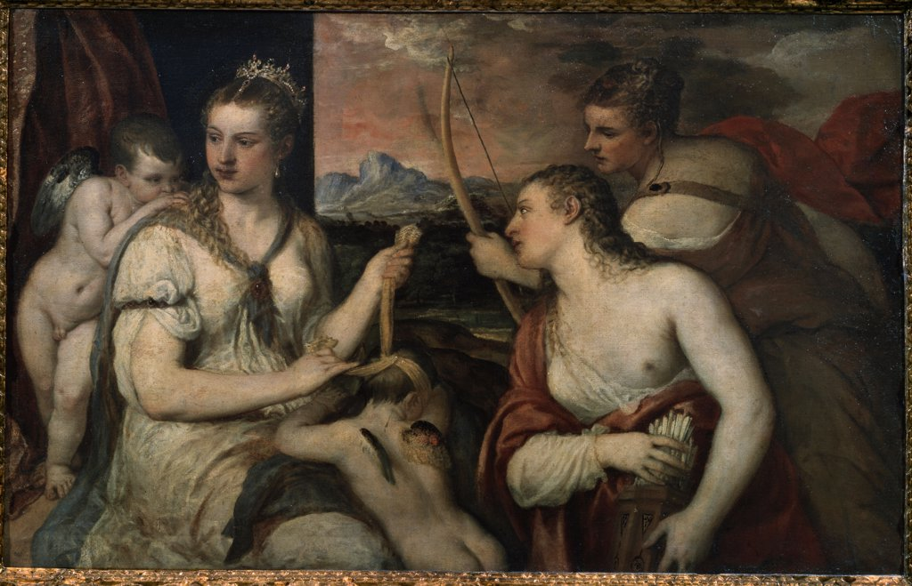 Love and lust goddesses by Titian, oil on canvas, circa 1565, 1488-1576, Italy, Rome , Galleria Borghese, 118x185 : Stock Photo