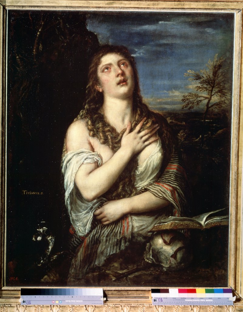 Stock Photo: 4266-12316 Portrait of Mary Magdalene by Titian, oil on canvas, 1560s, 1488-1576, Russia, St. Petersburg, State Hermitage, 119x97