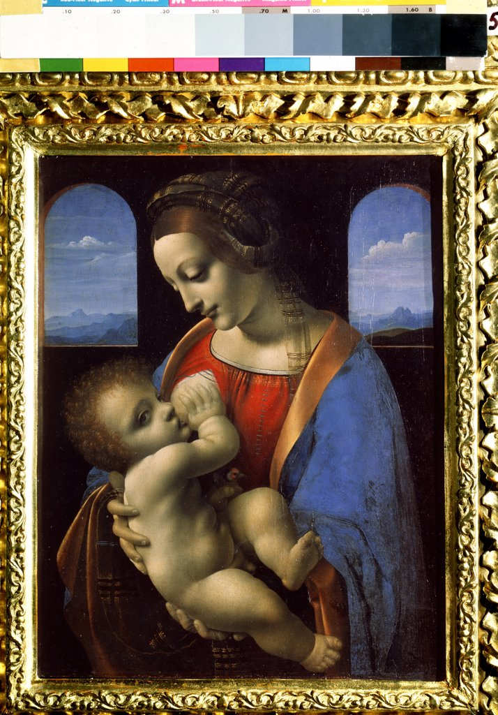 Madonna Lactans by Leonardo da Vinci, tempera on canvas, 1490-1491, 1452-1519, State Hermitage, St. Petersburg42x33 : Stock Photo