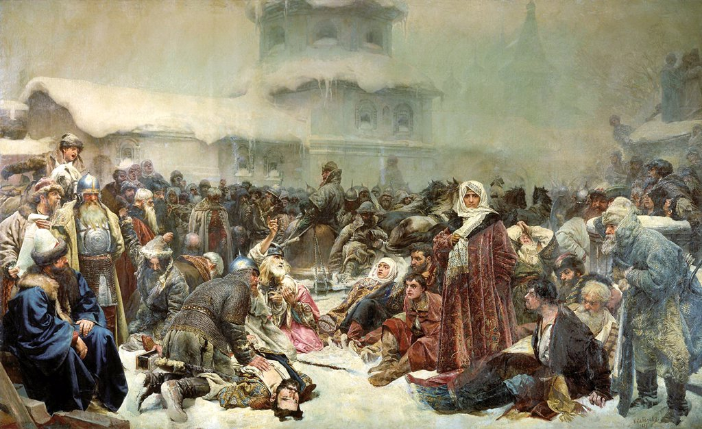 Stock Photo: 4266-12444 Historical scene by Klavdi Vasilyevich Lebedev, oil on canvas, 1889, 1852-1916, Russia, Moscow, State Tretyakov Gallery, 250, 6x409