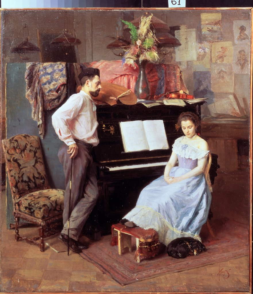 Stock Photo: 4266-12450 Couple by piano by Mikhail Ivanovich Ignatiev, oil on canvas, circa 1900, 1870-1934, Russia, Vologda, Regional Art Gallery, 70x62