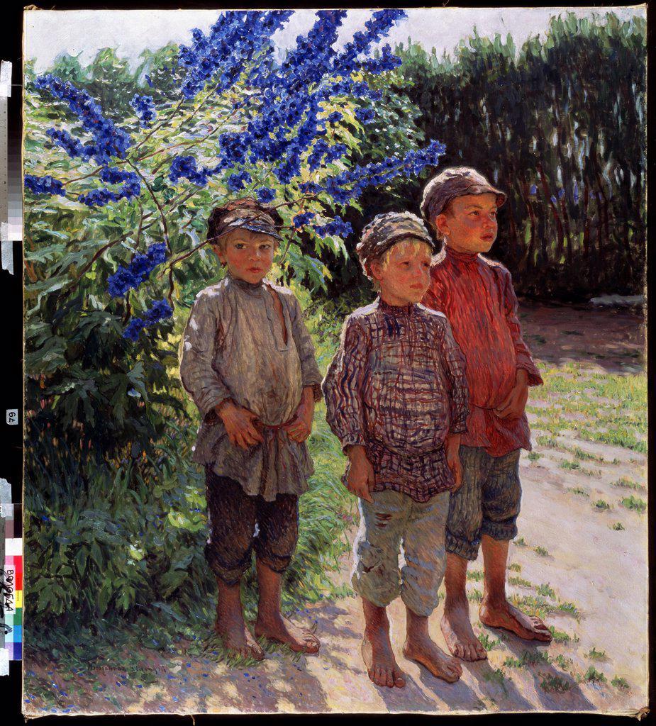 Peasant boys by Nikolai Petrovich Bogdanov-Belsky, oil on canvas, 1868-1945, Russia, Vologda, Regional Art Gallery, 160x143 : Stock Photo