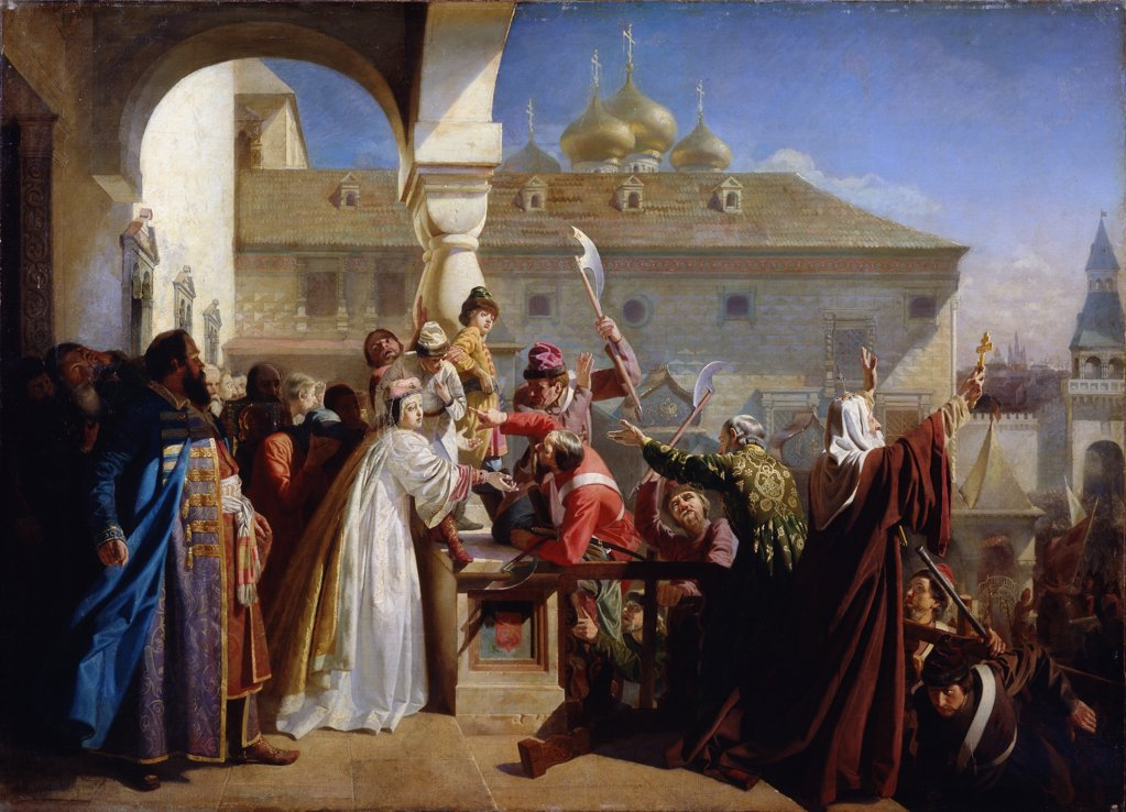 Stock Photo: 4266-12473 Boyars visiting Peter I by Nikolai Dmitrievich Dmitriev-Orenburgsky, oil on canvas, 1862, 1837-1898, Russia, Taganrog, Regional Art Gallery, 150x200