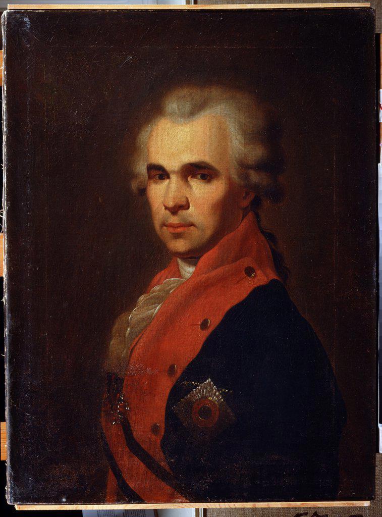 Portrait of Vasily Popov by Petro Semyonovich Drozhdin, Oil on canvas, 1793, 1745-1805, Ukraine, Dnepropetrovsk, State Art Museum, 66x48 : Stock Photo