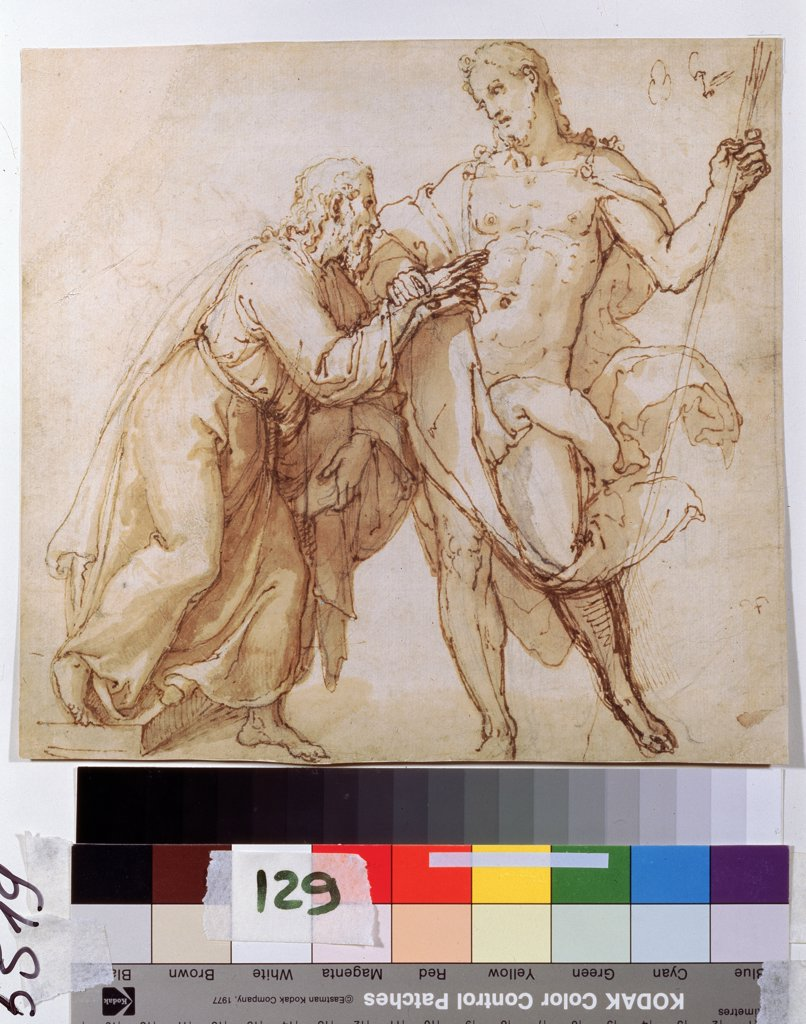 Stock Photo: 4266-12509 Incredulity of St.Thomas by unknown artist, Pen, brush, brown colour on paper, Early 17th century, Russia, Moscow, State A. Pushkin Museum of Fine Arts,