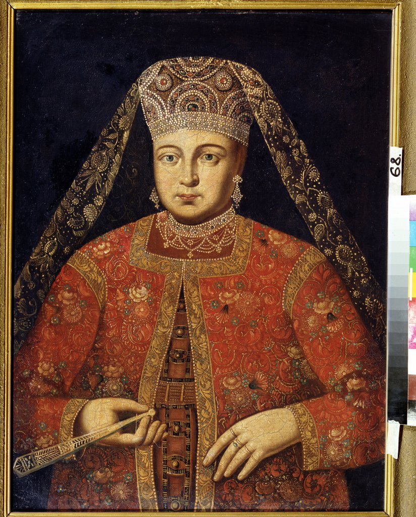 Stock Photo: 4266-12517 Portrait of tsarina Marfa Matveyevna by unknown artist, Oil on canvas, Early 18th century, Republic of North Ossetia–Alania, Vladikavkas, M. Tuganov Art Museum of the North Ossetian, 79x60