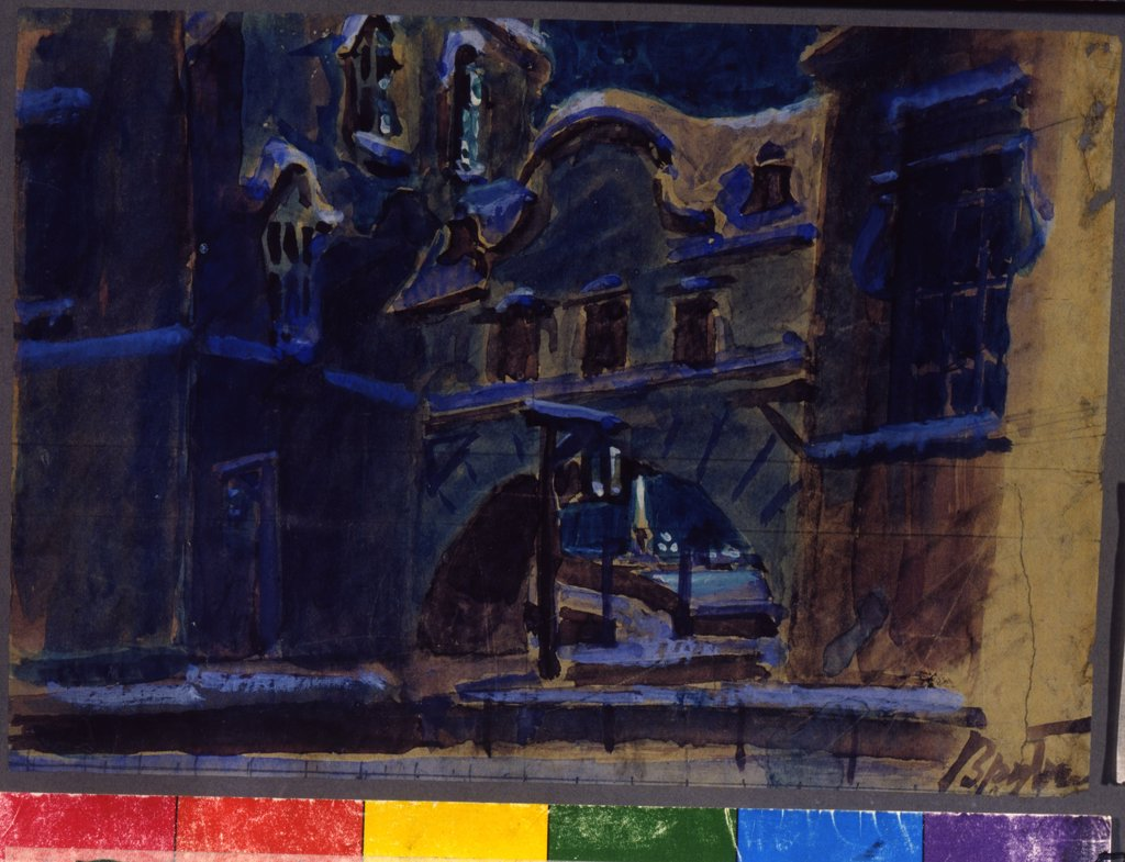 Stock Photo: 4266-12564 Stage Design by Mikhail Alexandrovich Vrubel, pencil, gouache on paper, 15, 7x23, 1856-1910, Russia, Moscow , State Central A. Bakhrushin Theatre Museum,