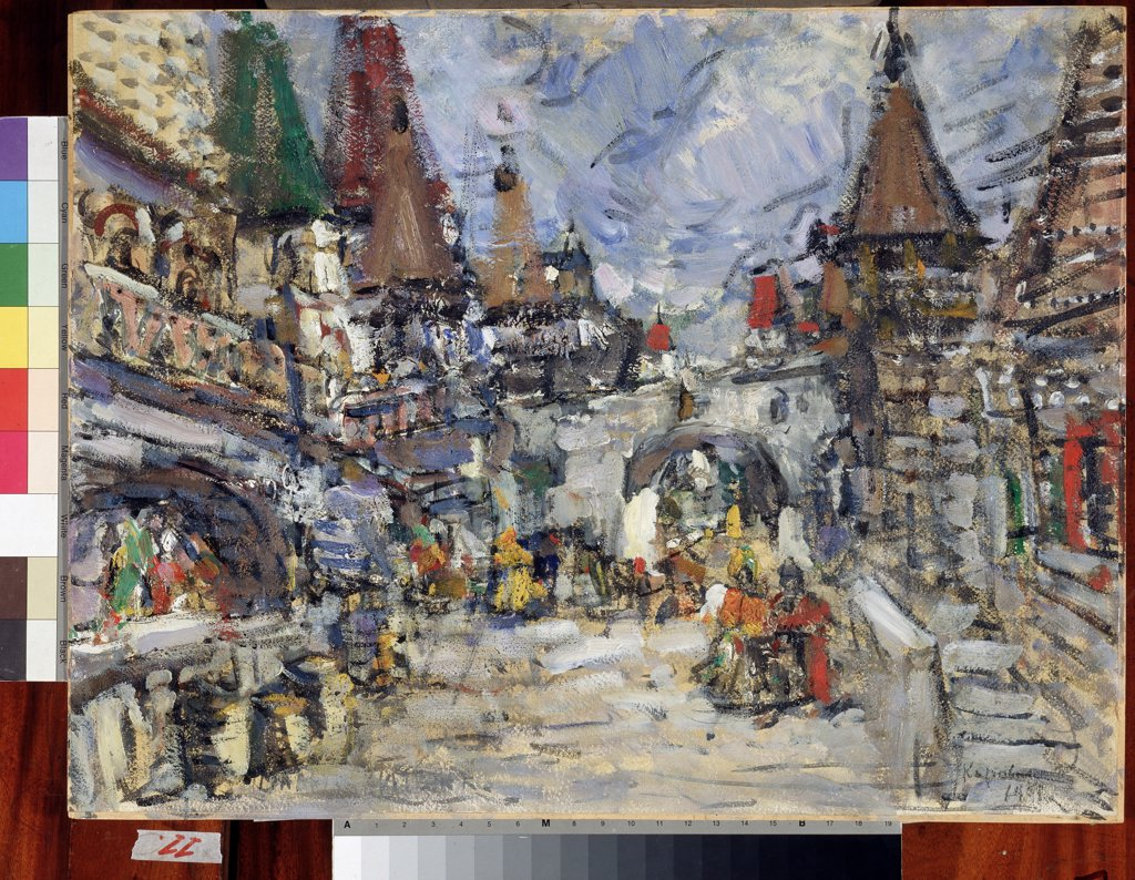 Stock Photo: 4266-12584 Legend of the Invisible City of Kitezh by Konstantin Alexeyevich Korovin, oil on cardboard, 1908, 1861-1939, Russia, Moscow , State Central A. Bakhrushin Theatre Museum, 50, 7x66