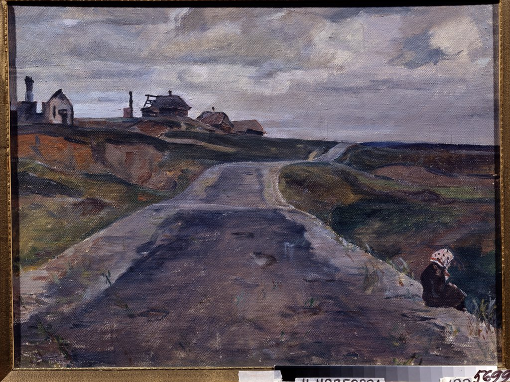 Stock Photo: 4266-12629 Woman by road by Alexander Alexandrovich Deineka, oil on canvas, 1942, 1899-1969, Russia, Nizhny Novgorod , State Art Museum,