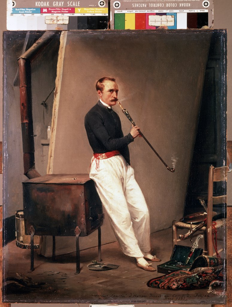 Stock Photo: 4266-12648 Self-portrait by Horace Vernet, oil on canvas, 1835, 1789-1863, Russia, St. Petersburg, State Hermitage, 47x39
