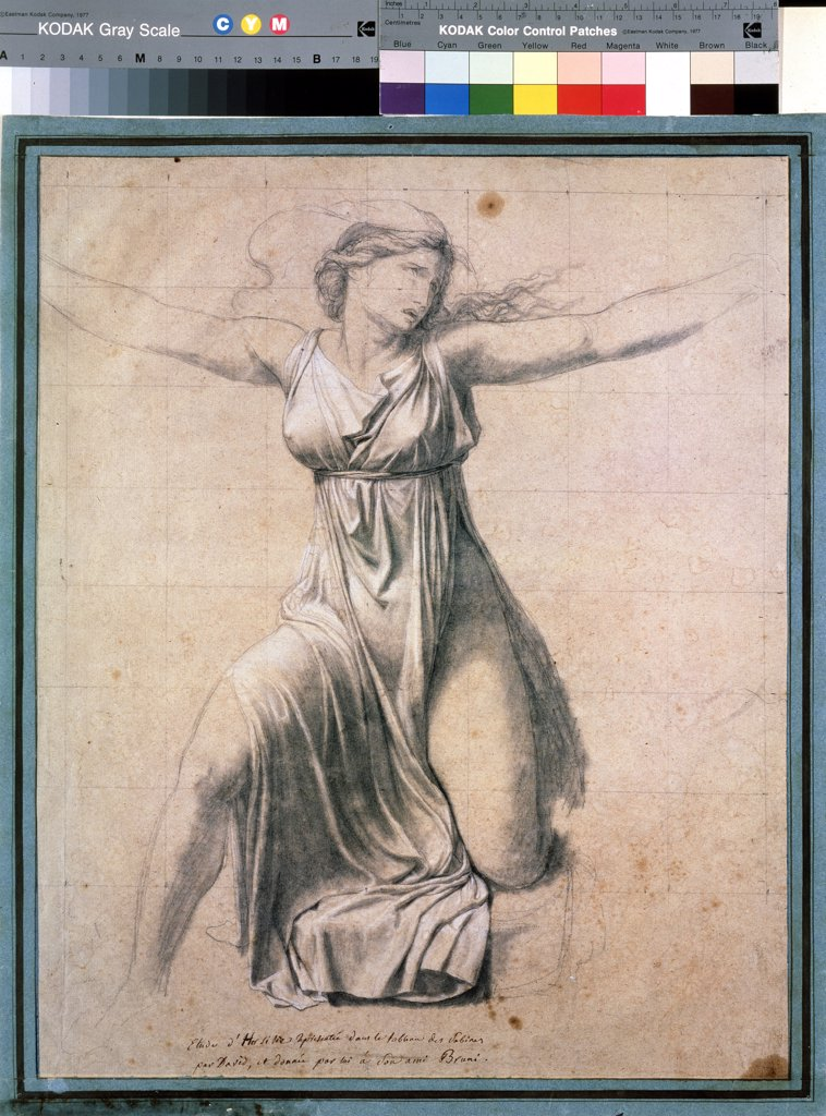 Hersilia by Jacques Louis David, Black and white chalk on paper , 1795-1798, 1748-1825, Russia, Moscow , State A. Pushkin Museum of Fine Arts, 46, 8x38 : Stock Photo