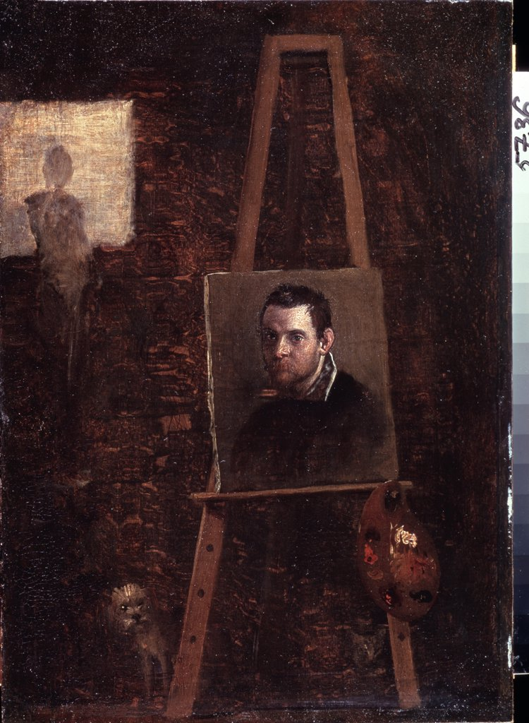 Stock Photo: 4266-12658 Self-portrait by Annibale Carracci, oil on wood, circa 1604, 1560-1609, Bolognese School, Russia, St Petersburg, State Hermitage, 42, 5x30