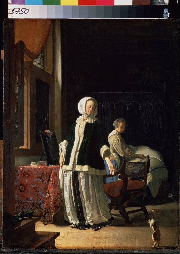 Stock Photo: 4266-12672 Lady, servant and dog by Frans van Mieris Elder, oil on wood, circa 1660, 1635-1681, Russia, St Petersburg, State Hermitage, 51, 5x39, 5