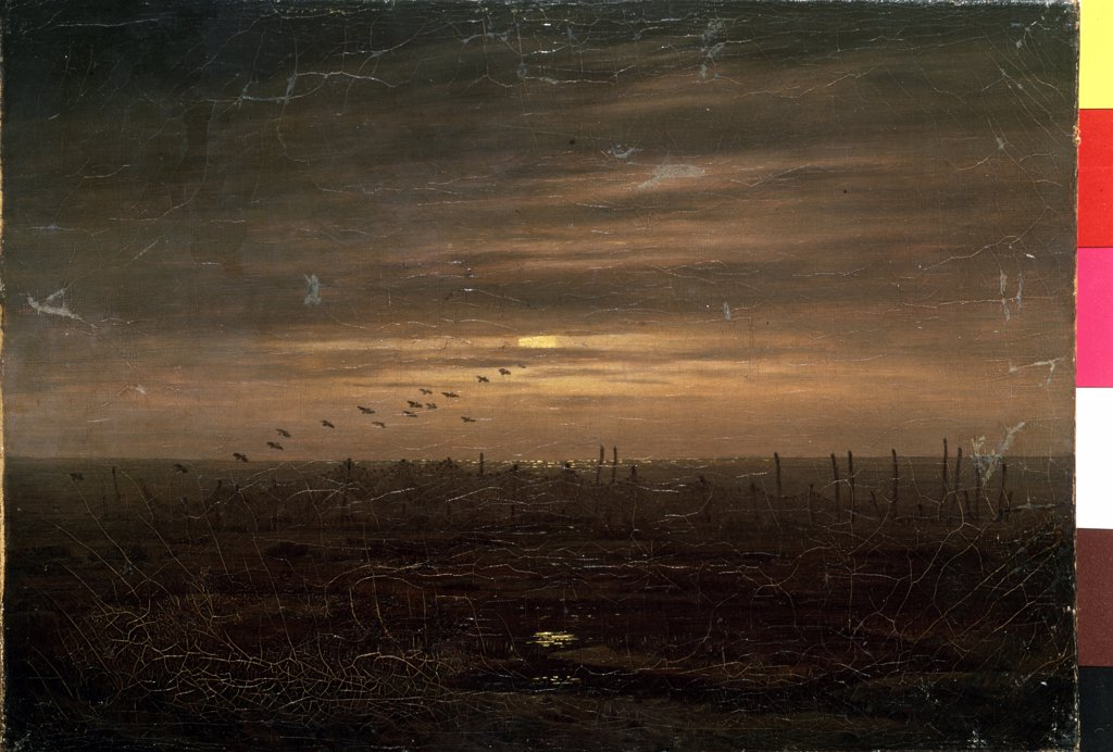 Stock Photo: 4266-12680 Landscape with flock of birds by Caspar David Friedrich, oil on canvas, 1774-1840, 19th century, Russia, St Petersburg, State Hermitage, 21, 5x30