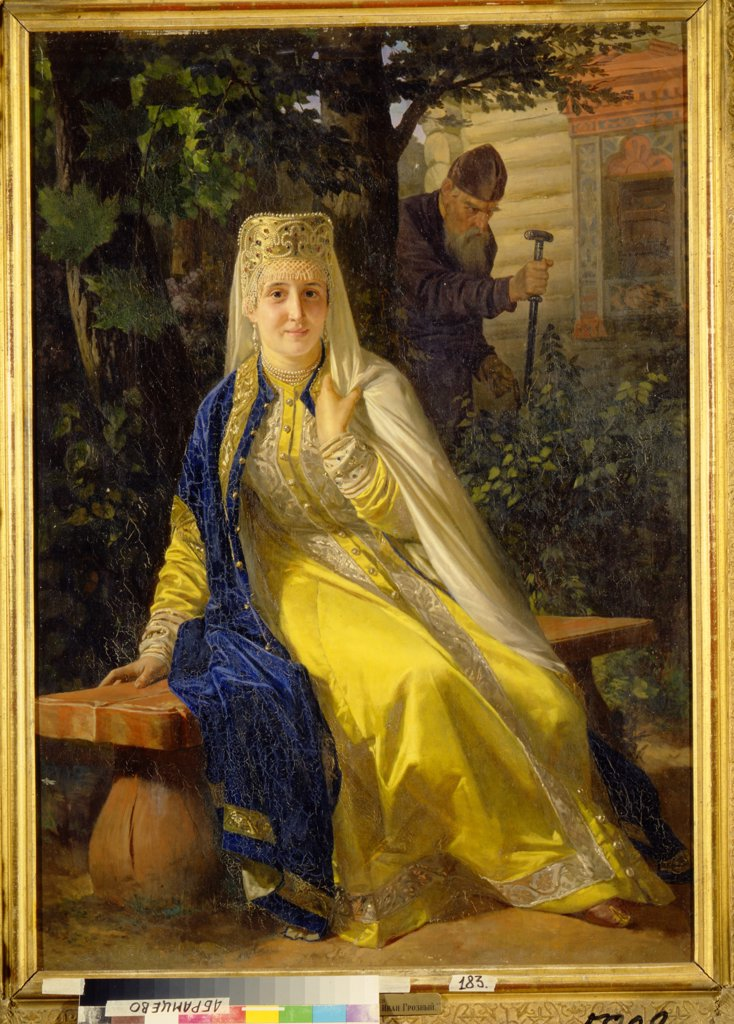 Stock Photo: 4266-12725 Portrait of tsarina by Nikolai Vasilyevich Nevrev, oil on canvas, 1880s, 1830-1904, Russia, State Museum Abramtsevo Estate, 111x80