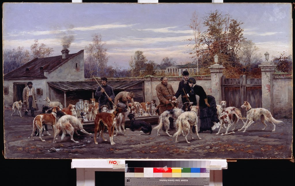 Hunting dogs by Alexei Danilovich Kivshenko, Oil on canvas, 1884, 1851-1895, Russia, Kharkov , State Art Museum, 65x122 : Stock Photo