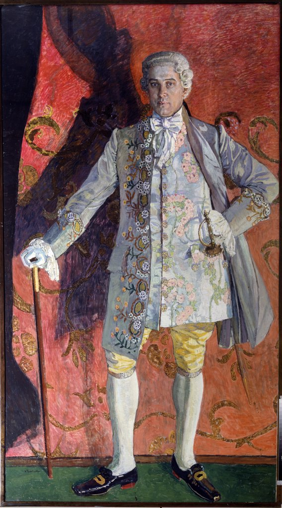 Stock Photo: 4266-12909 Chevalier des Grieux by Alexander Yakovlevich Golovin, Tempera on canvas, 1909, 1863-1930, Russia, Moscow, State Central A. Bakhrushin Theatre Museum, 116x210