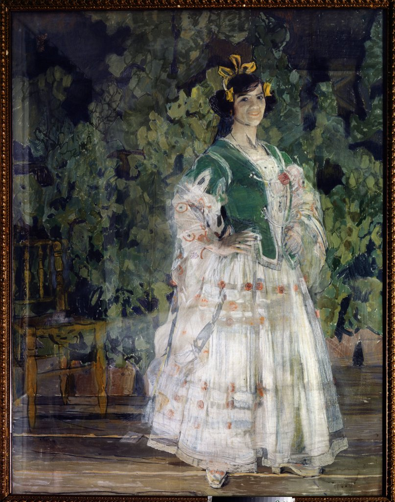 Stock Photo: 4266-12910 Portrait of Maria Kusnetsova-Benois as Carmen by Alexander Yakovlevich Golovin, Tempera and pastel on canvas, 1908, 1863-1930, Russia, Moscow, State Central A. Bakhrushin Theatre Museum, 215x165