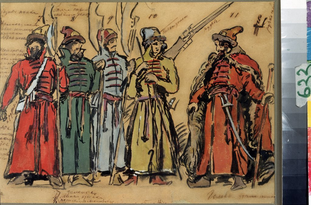 Actors wearing stage costumes by Konstantin Alexeyevich Korovin, Watercolor, gouache, ink and pen on paper, 1911, 1861-1939, Russia, Moscow, State Central A. Bakhrushin Theatre Museum, 26, 5x35, 6 : Stock Photo