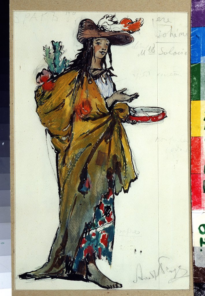 Stock Photo: 4266-12952 Woman wearing costume by Alexander Nikolayevich Benois, Pencil, Gouache and ink on paper, 1913, 1870-1960, Russia, Moscow, State Central A. Bakhrushin Theatre Museum, 31, 1x23, 2