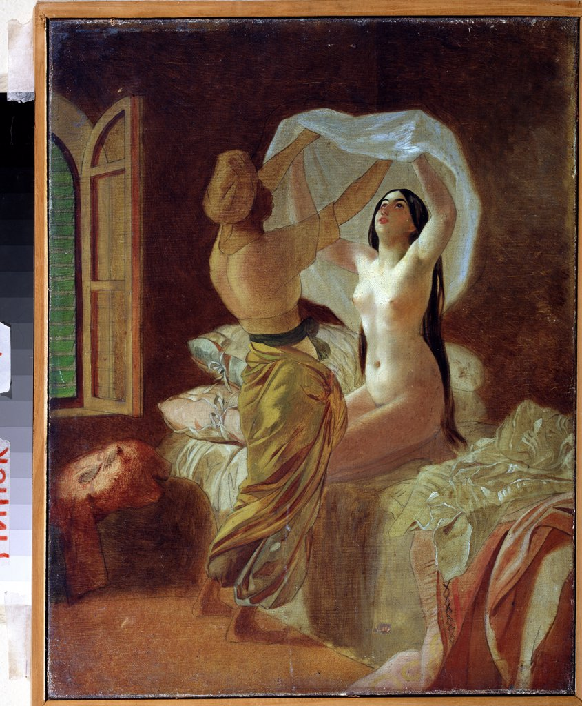 Stock Photo: 4266-13005 Odalisque getting dressed by Karl Pavlovich, oil on canvas, 1845, 1799-1852, Belarus, Minsk, National Art Museum of Belorussian Republik, 46, 8x36, 4