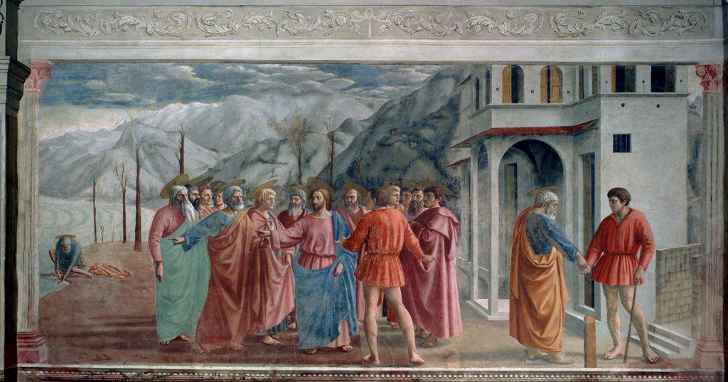Stock Photo: 4266-13017 Jesus Christ with apostles by Masaccio, fresco, 1425, 1401-1428, Florentine School, Italy, Florence, Cappella Brancacci di Santa Maria del Carmine, 255x598
