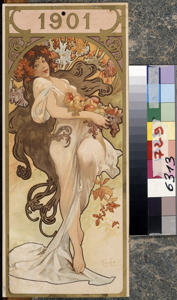 Stock Photo: 4266-13030 Nymph by Alfons Marie Mucha, colour lithograph, 1901, 1860-1939, Russia, Moscow, State Pushkin Museum of Fine Arts, 35x15, 5