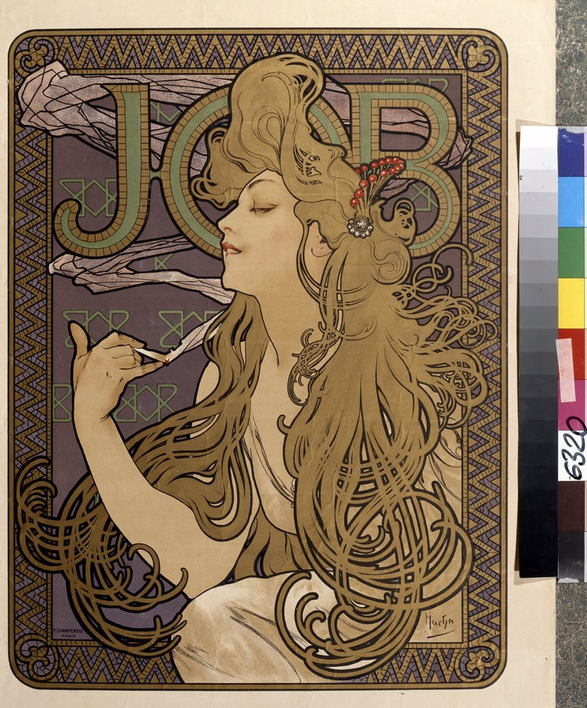 Cigarette poster by Alfons Marie Mucha, colour lithograph, 1897, 1860-1939, Russia, Moscow, State Pushkin Museum of Fine Art, 51, 5x39 : Stock Photo