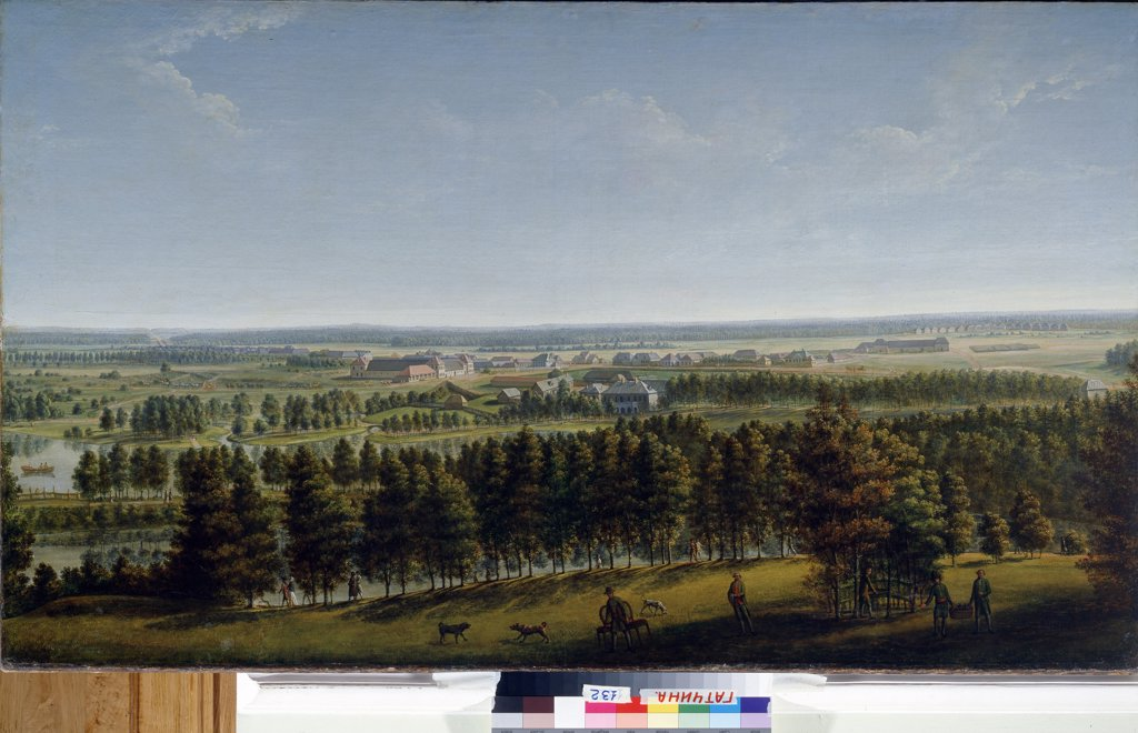 Stock Photo: 4266-13118 Landscape by Johann Jakob Mettenleiter, Oil on canvas, 1790s, 1750-1825, Russia, St. Petersburg, State Open-air Museum Palace Gatchina, 84, 5x142