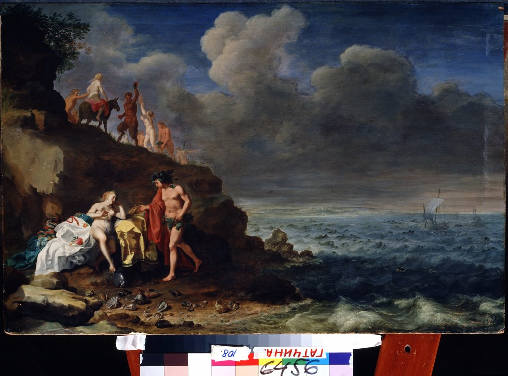 Stock Photo: 4266-13120 Bacchus and Ariadne by Cornelis van Poelenburgh, Oil on wood, 1594/95-1667, Russia, St. Petersburg, State Open-air Museum Palace Gatchina, 56x64