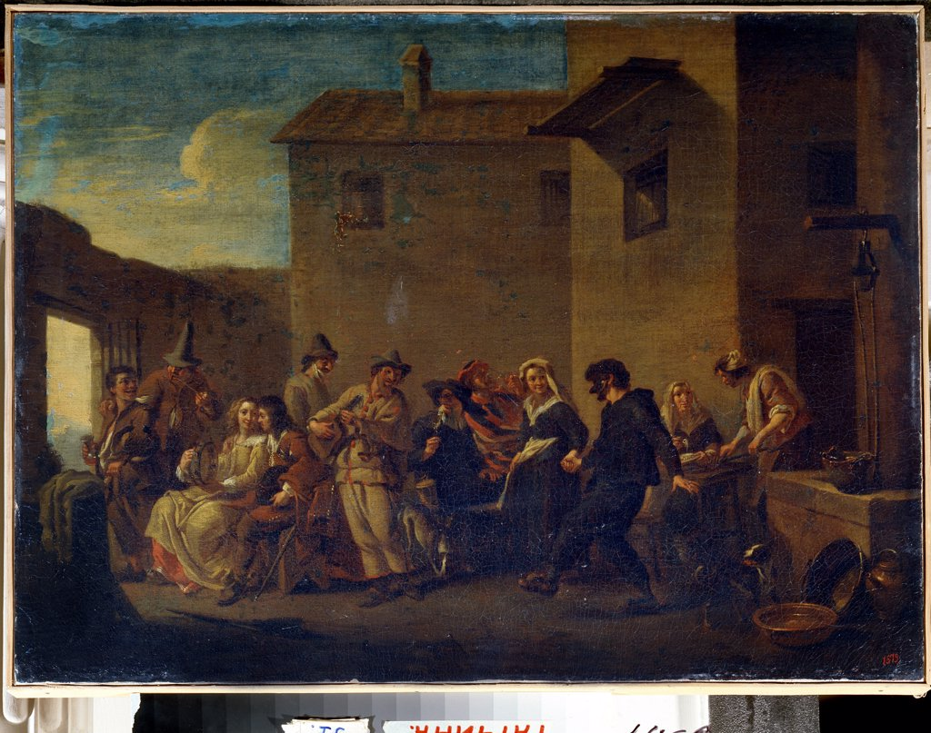 Stock Photo: 4266-13126 Carnival by Johannes Lingelbach, Oil on canvas, 17th century, 1622-1674, Russia, St. Petersburg, State Open-air Museum Palace Gatchina, 49x66