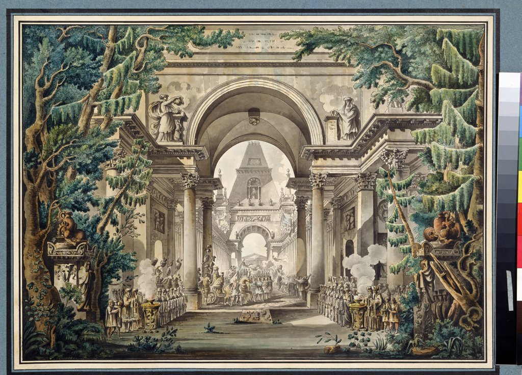 Stock Photo: 4266-13183 Theatrical scenic painting by Louis-Jean Desprez, Pen, ink, watercolour on paper, 1743-1804, Russia, Moscow, State A. Pushkin Museum of Fine Arts, 42, 5x57, 8