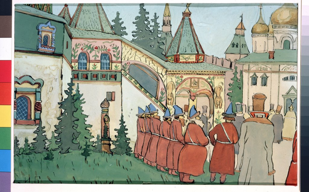 Stock Photo: 4266-13224 Stage design to Finist Falcon by Ivan Yakovlevich Bilibin, watercolour, gouache, ink and pen on paper, 1876-1942, Russia, Moscow, State Tretyakov Gallery, 22x29, 5