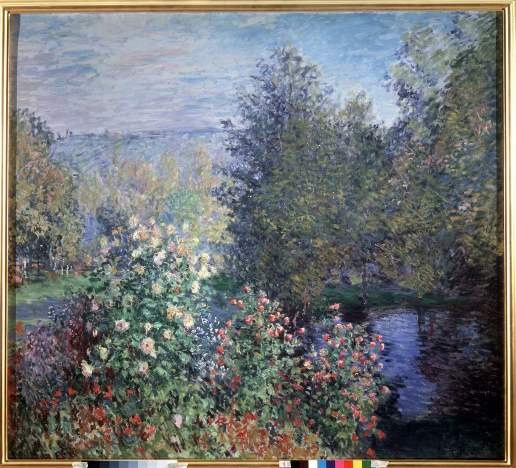 Garden by Claude Monet, oil on canvas, circa 1876, 1840-1926, Russia, St. Petersburg, State Hermitage, 175x194 : Stock Photo