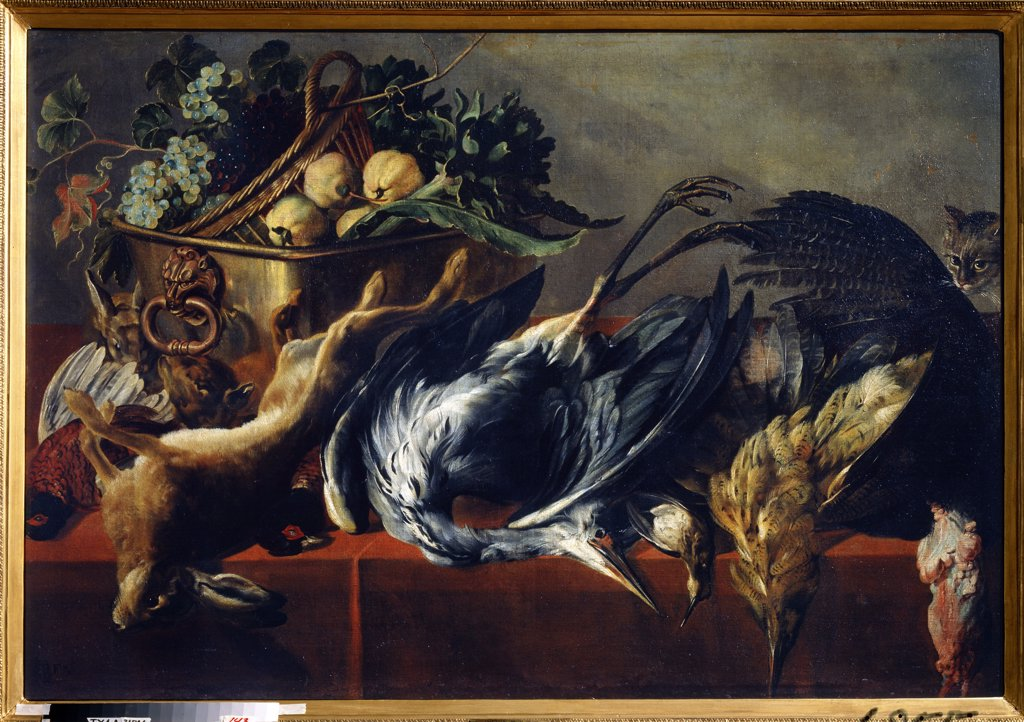 Stock Photo: 4266-13352 Still life by Frans Snyders, oil on canvas, 1579-1657, Russia, Tula, State Art Museum, 98x160