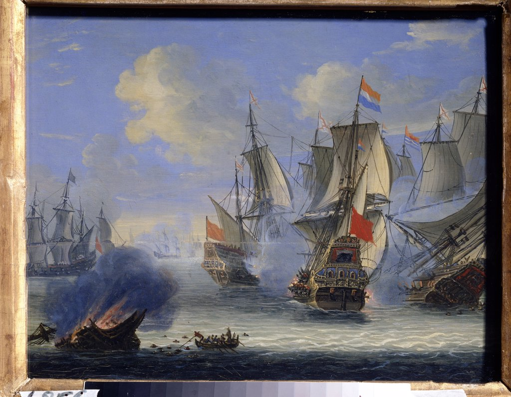 Stock Photo: 4266-13353 Sea battle by Adam Silo, Oil on canvas, 1674-1757, Russia, Tula, State Art Museum, 25x33, 5