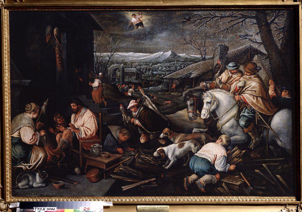 Village scene by Leandro Bassano, oil on canvas, 1557-1622, Russia, Tula, State Art Museum, 80x121 : Stock Photo